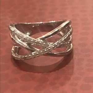 Sterling Silver Diamond Criss Cross Ring Size 7